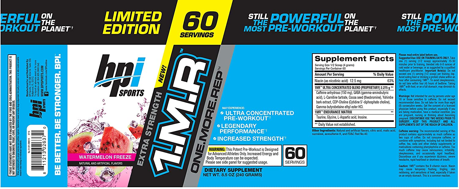 Amazon.com: BPI Sports 1MR, One More Rep Ultra-Concentrated Pre-Workout  Powder, Watermelon, 60 servings, 8.5 oz: Health & Personal Care