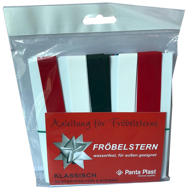 DAS Produkt Plastik-Fr/öbelstern f/ür Aussenanwendung wasserfest 20 Streifen f/ür 5 Sterne mit Anleitung