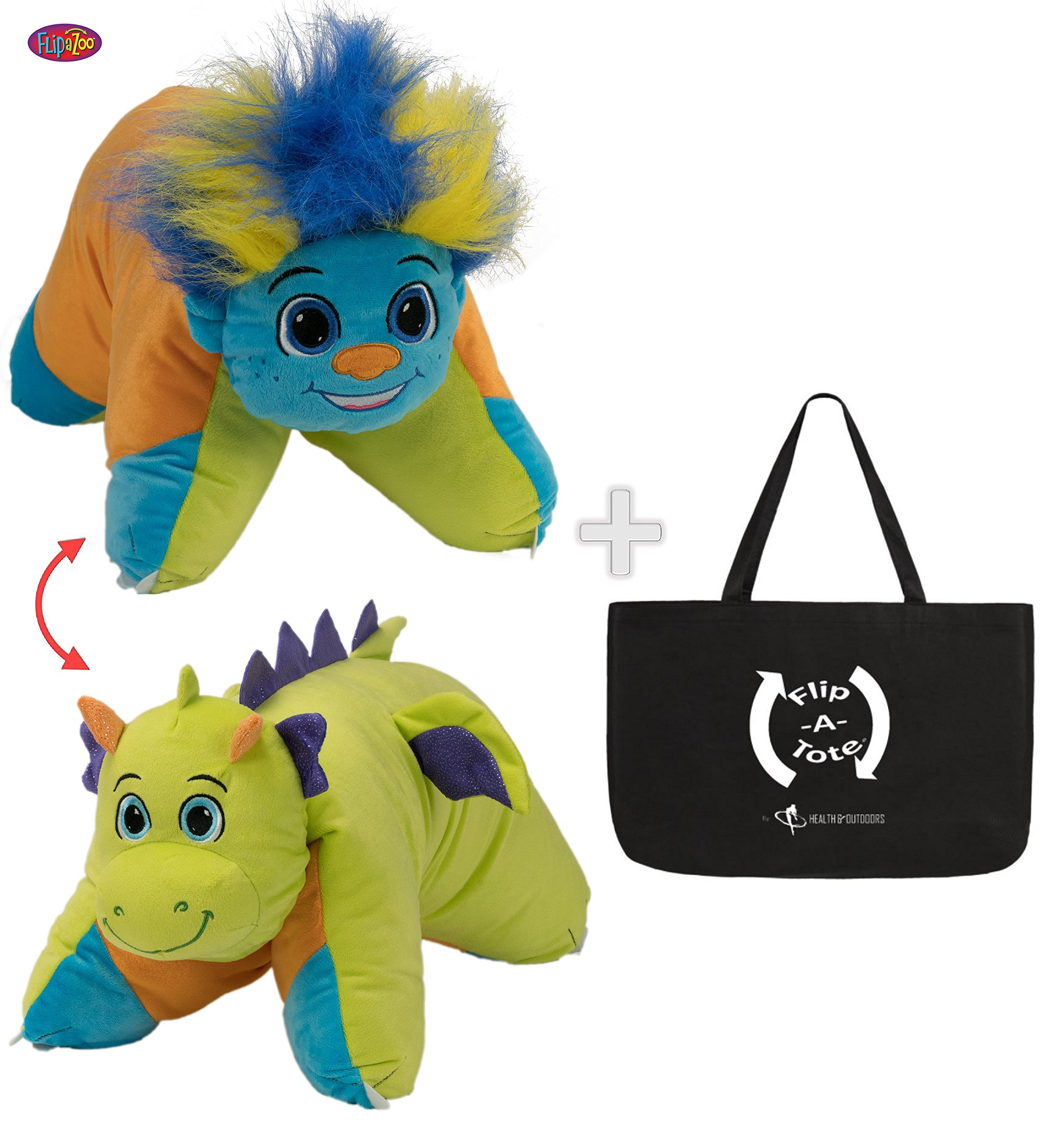 Flipazoo Flip 'N' Play Friends Plush Toy & Pillow in 1 ( Dragon / Colorful Troll ) & EXCLUSIVE FlipaTote COMBO by Flip 'N' Play Friends