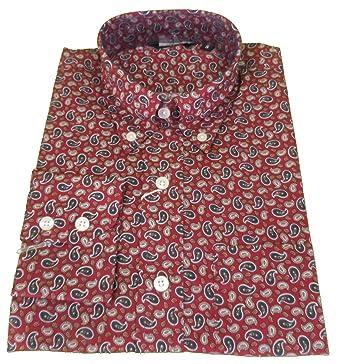 986c795b781 Relco Mens Burgundy Paisley Shirt  Amazon.co.uk  Clothing