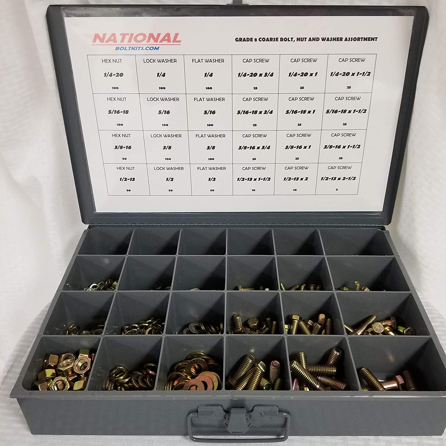 Grade 8 Coarse Thread Nut Bolt Washer Drawer Assortment Over 1250 Pieces | Yellow Zinc Plated