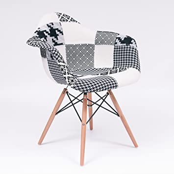 Homely Fauteuil Patchwork Noir Et Blanc Tower Eames Style