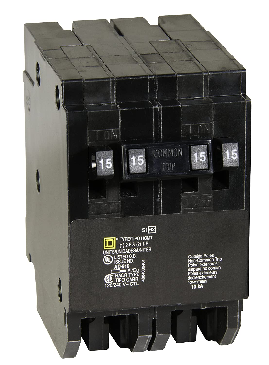 Square D By Schneider Electric Homt1515215cp Homeline 2 15 Amp Shop 40amp 2pole Circuit Breaker At Lowescom Single Pole 1 Two Quad Thermal Magnetic Breakers