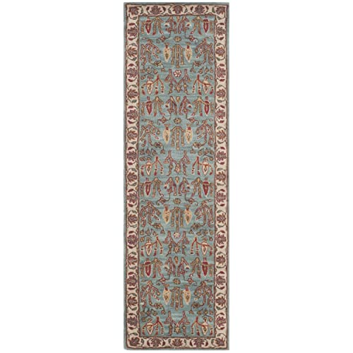 Safavieh Heritage Collection HG735A Handcrafted Traditional Oriental Blue and Ivory Wool Runner 2 3 x 10