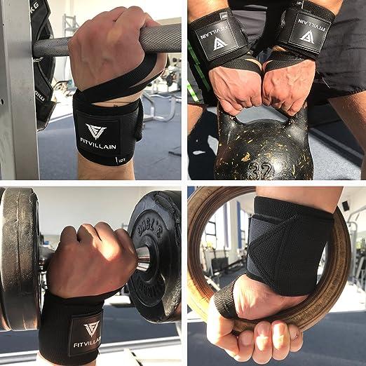 FITVILLAIN Muñequeras de Crossfit para Levantamiento de Pesas - Wrist Wraps - Gimnasio Power Lifting Kettlebell Fitness Gym Ejercicio Deporte - Soporte ...