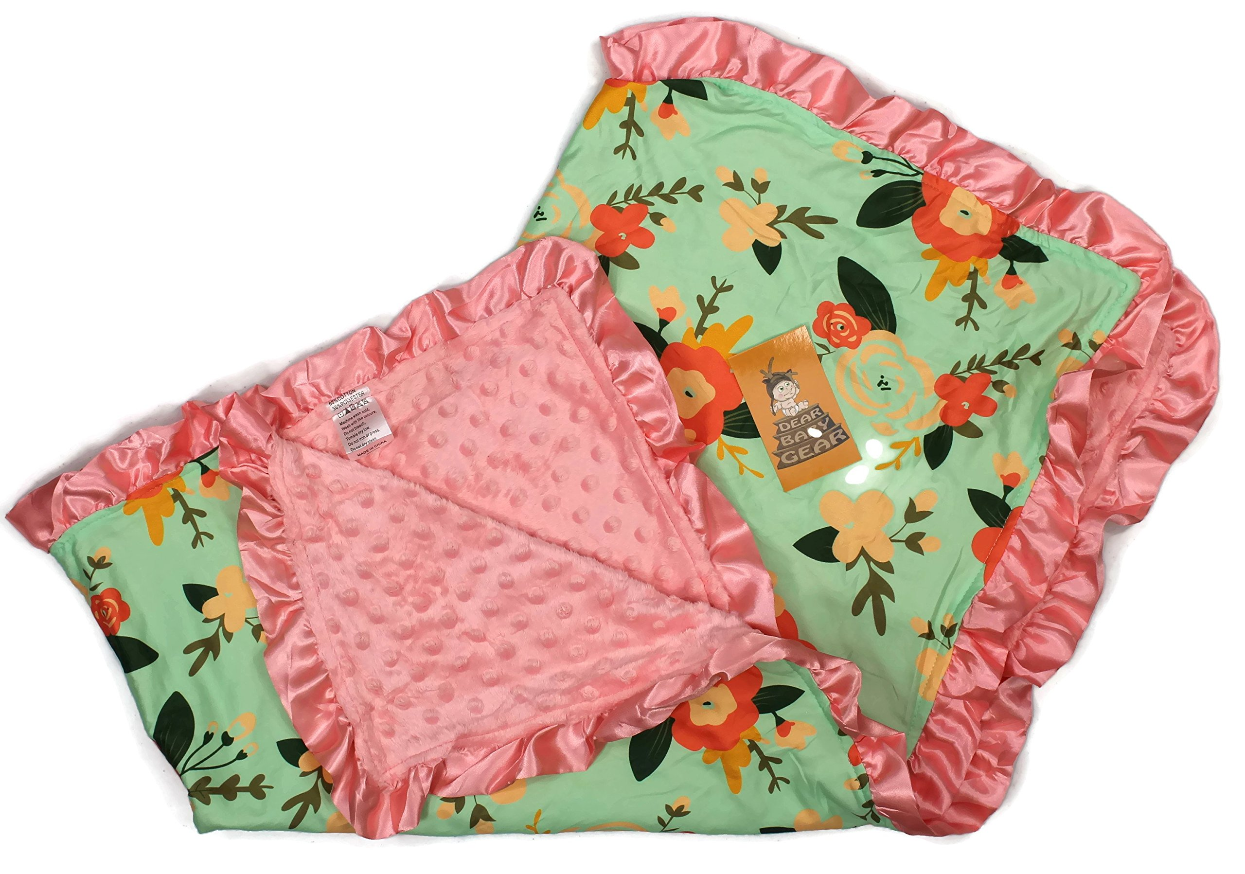 Dear Baby Gear Baby Blankets, Abstact Coral Floral Mint, Coral Minky, 32 inches by 32 inches
