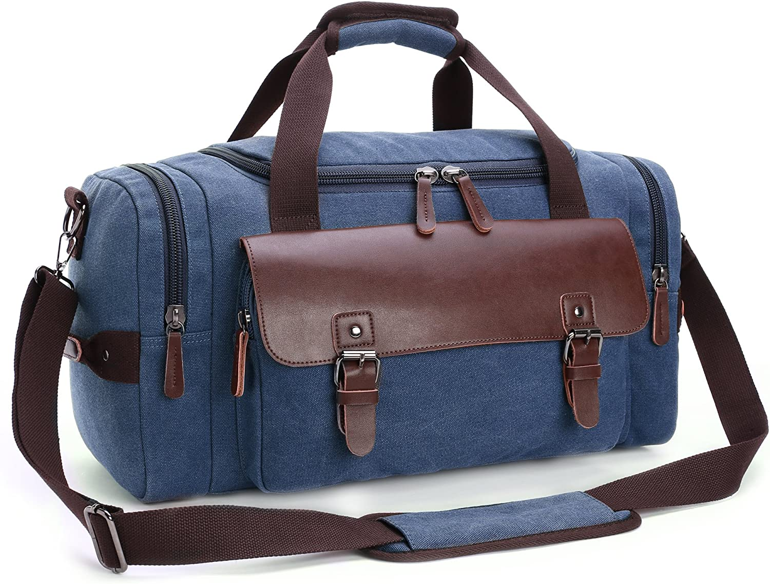 Canvas Duffel Bag, Cambond Weekender Overnight Bag Canvas PU Leather Travel Tote Duffle Bag Carryon Bag for Men and Women Blue