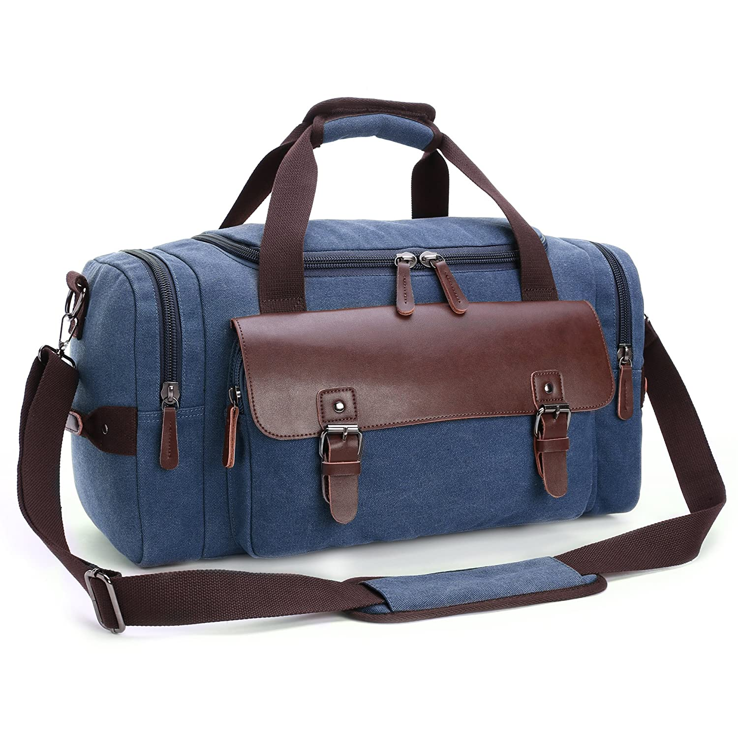 Canvas Duffel Bag, Cambond Weekender Overnight Bag Canvas PU Leather Travel  Tote Duffle Bag Carryon Bag for Men and Women (Blue) cde82eb31d