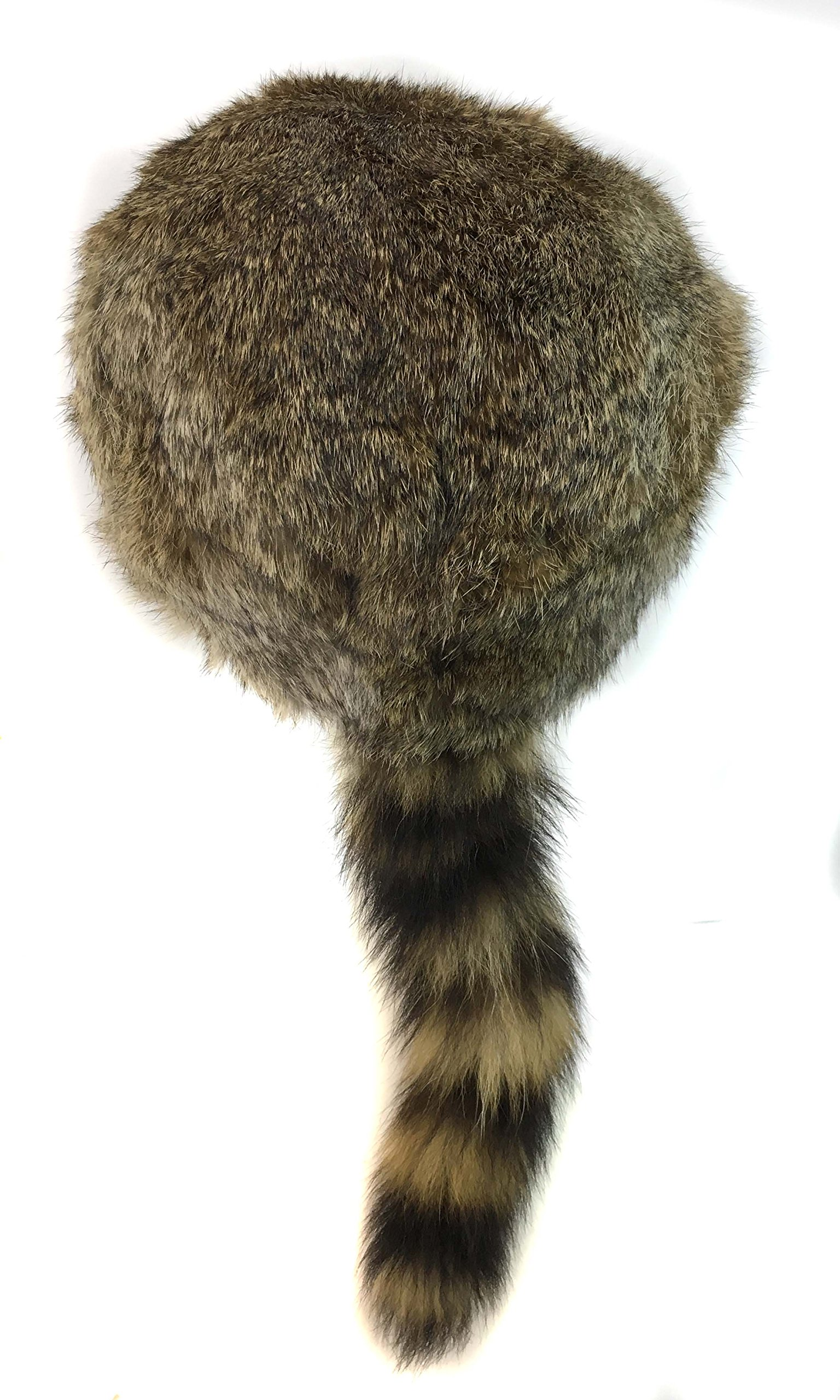 surell Coonskin Davy Crockett Hat - Rabbit Fur Crown - Raccoon Tail Hat Brwon