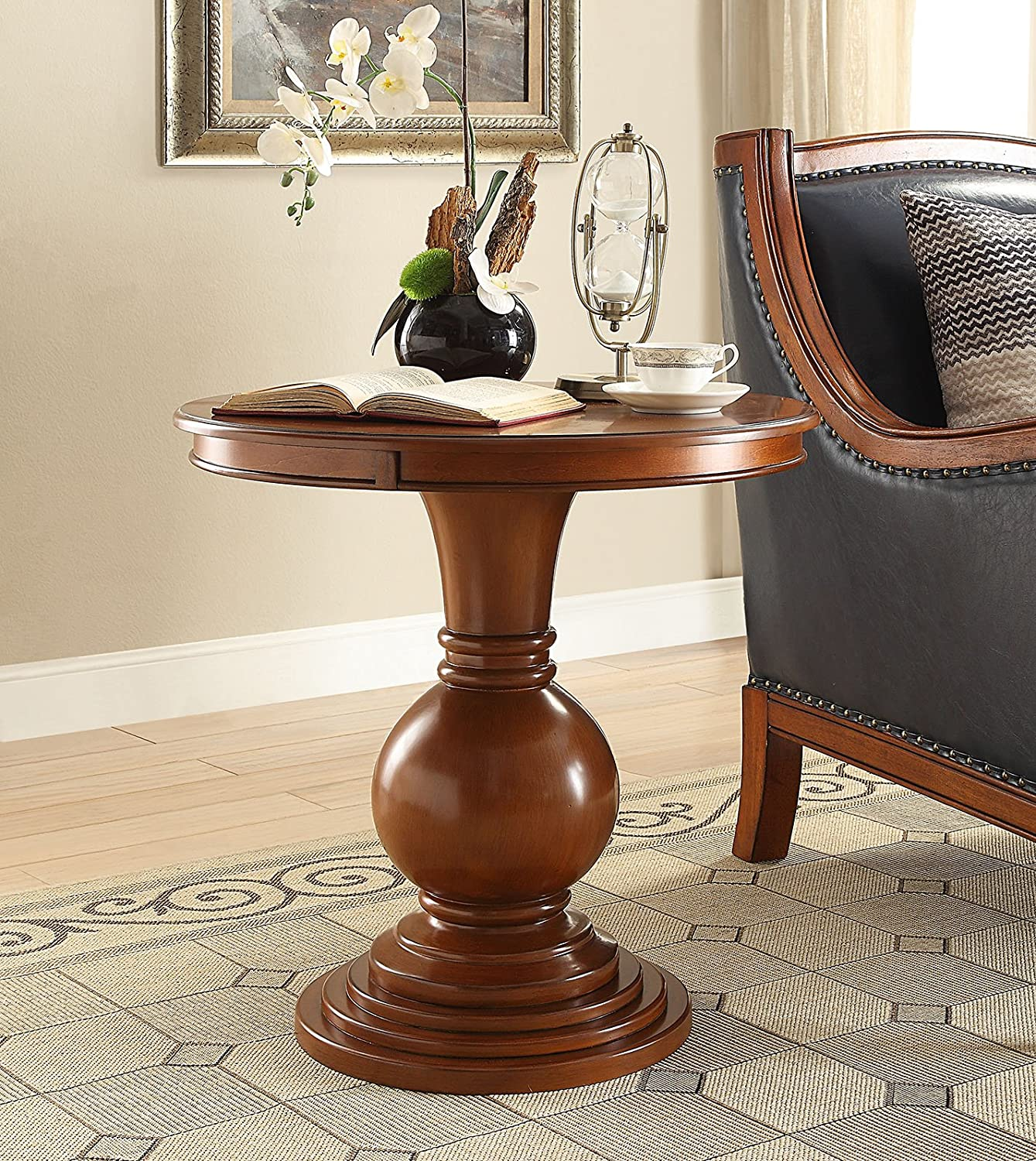 Wooden Round Side Table in Burnt Chestnut One Source Living