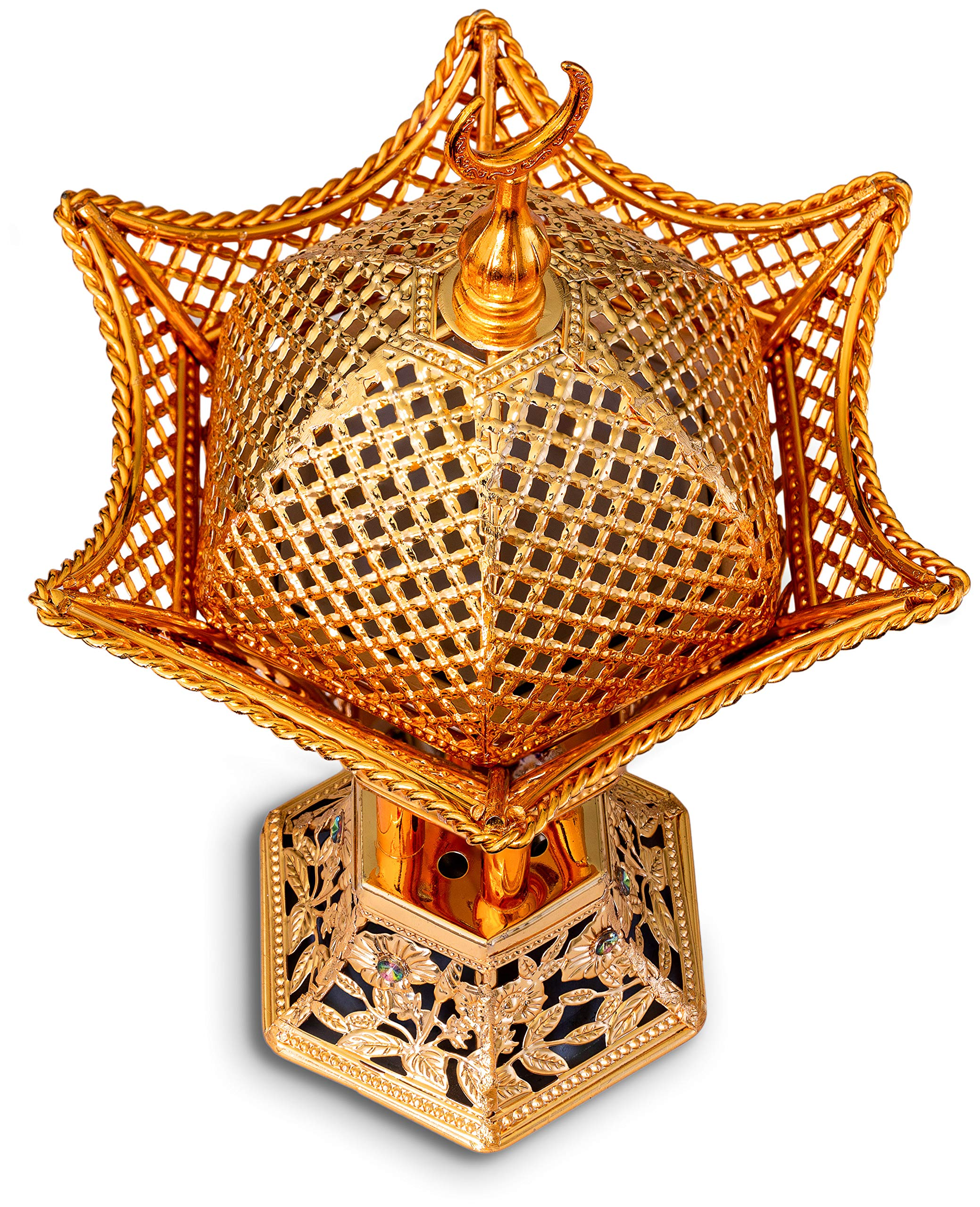 AM Bakhoor Charcoal Incense Burner - Oud Frankincense Resin Burner 10.5 Inches Tall - for Bakhoor Oud Incense Sticks Cones - Luxury Filigree, Gold by AM (Image #6)