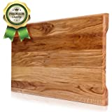 Wood Cutting Board. More Reliable than Bamboo Cutting Board and More Organic than Plastic Cutting Board. Size 18x 10x 4/5 in. Butcher Block Cutting Board. Perfect Cook's Gift.