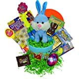 Fun Filled Blue Traditional Easter Baskets For Kids With M&Ms Plastic Nerds Candy Egg Plush Easter Bunny Jump Rope Frisbee And YoYo