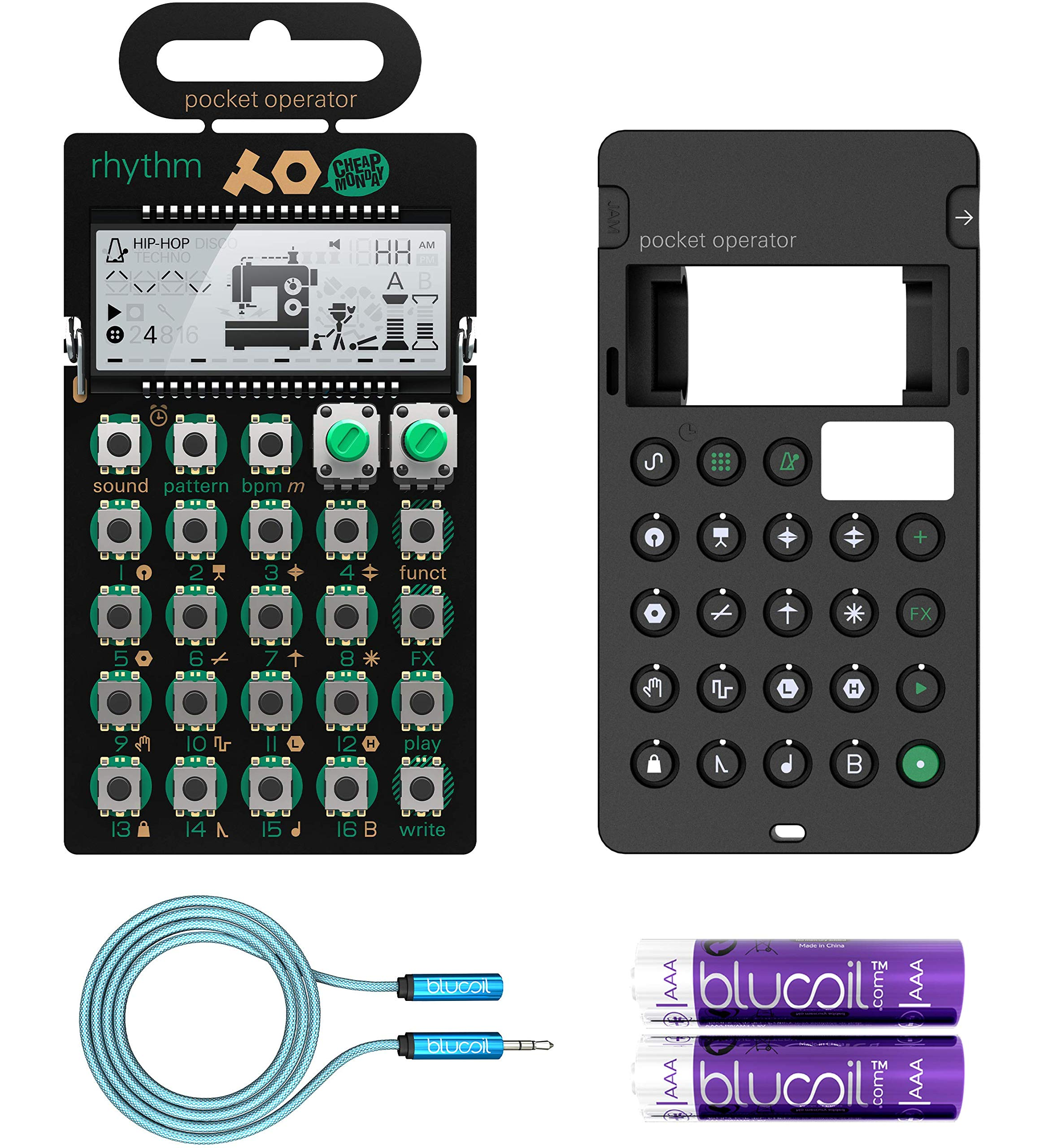 Teenage Engineering PO-12 Rhythm Pocket Operator, 16 Sounds, Patterns & Effects Synthesizer & Sequencer Bundle with CA-X Silicone Case, Blucoil 6-FT Headphone Extension Cable (3.5mm) & 2 AAA Batteries