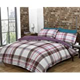 Red White Plum Checked Double Quilt Duvet Cover & Pillowcases Bedset Bedding