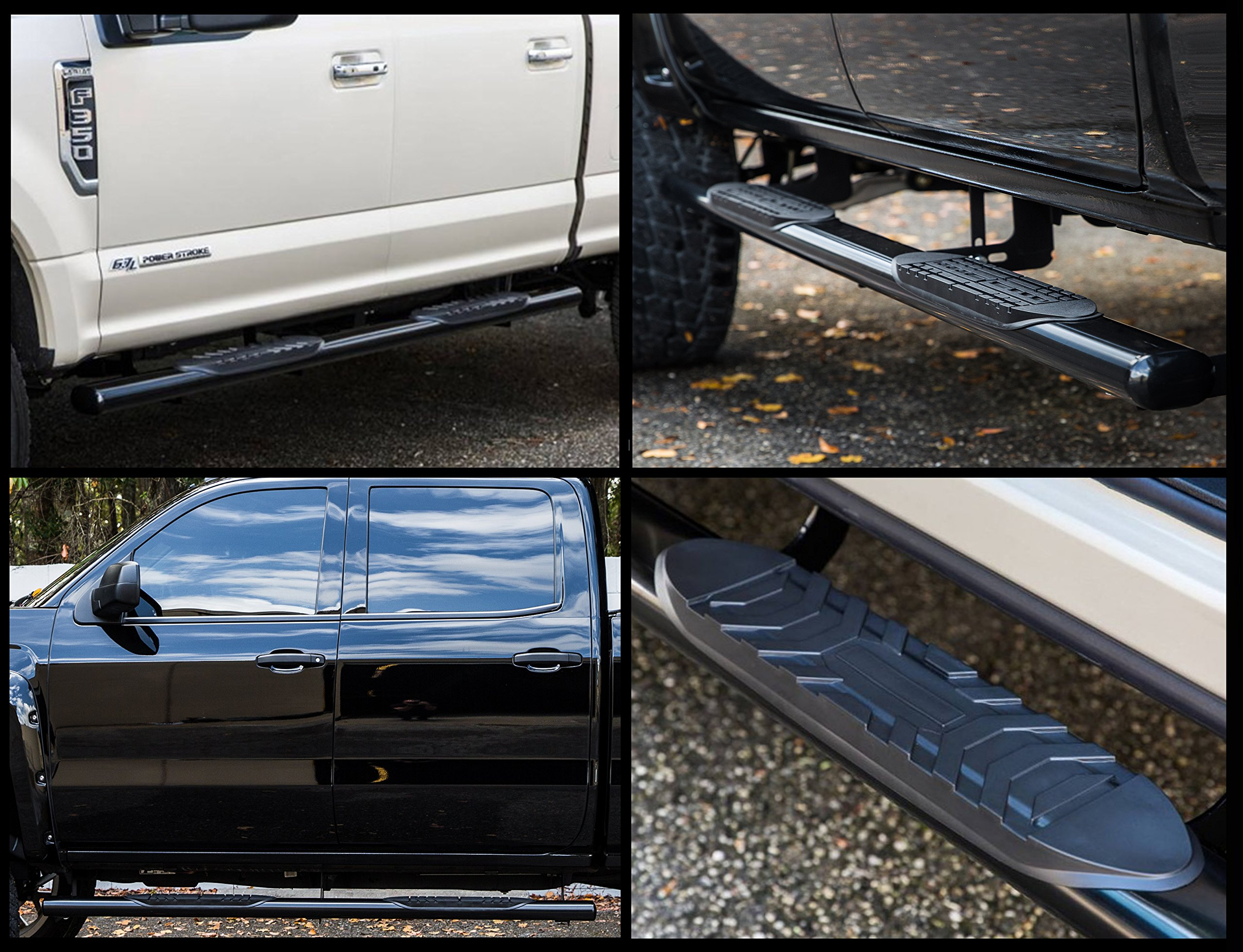 Ionic 5'' Black Steel Oval Nerf Bars (fits) 2007-2018 Chevy Silverado GMC Sierra Crew Cab Only Rocker Mount Truck Side Steps (402219B) by Ionic Automotive (Image #3)