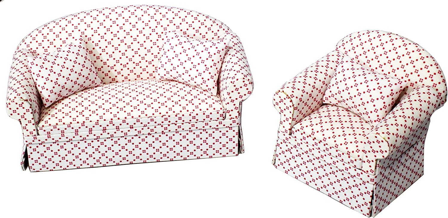 Inusitus Set of Matching Dollhouse Sofa & Armchair | Dolls House Furniture Couch & Chair - Red Checkered - 1/12 Scale (White with Dots)