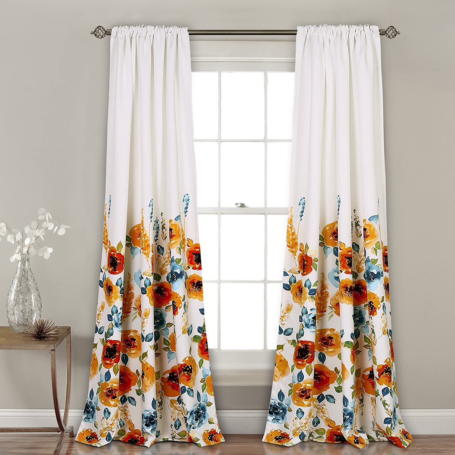 "Lush Decor 16T002249 Percy Bloom Window Curtain Panel Pair, 84"" x 52"", Tangerine & Blue"