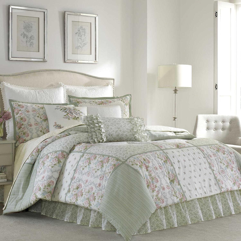Laura Ashley 220883 Harper Comforter Set, Pale Green, Full