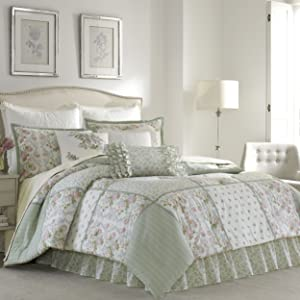Laura Ashley 220884 Harper Comforter Set, Pale Green, Queen