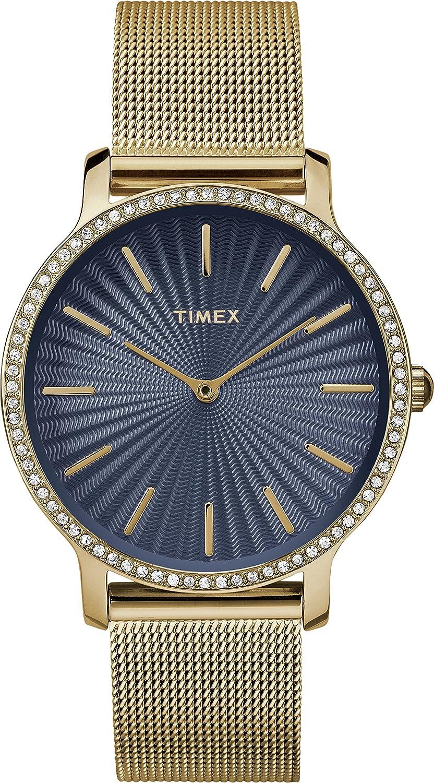 CDM product Timex Women's Fashion Metropolitan Starlight - 34mm TW2R50600GP Blue Dial and Gold-Tone Mesh Bracelet Watch big image