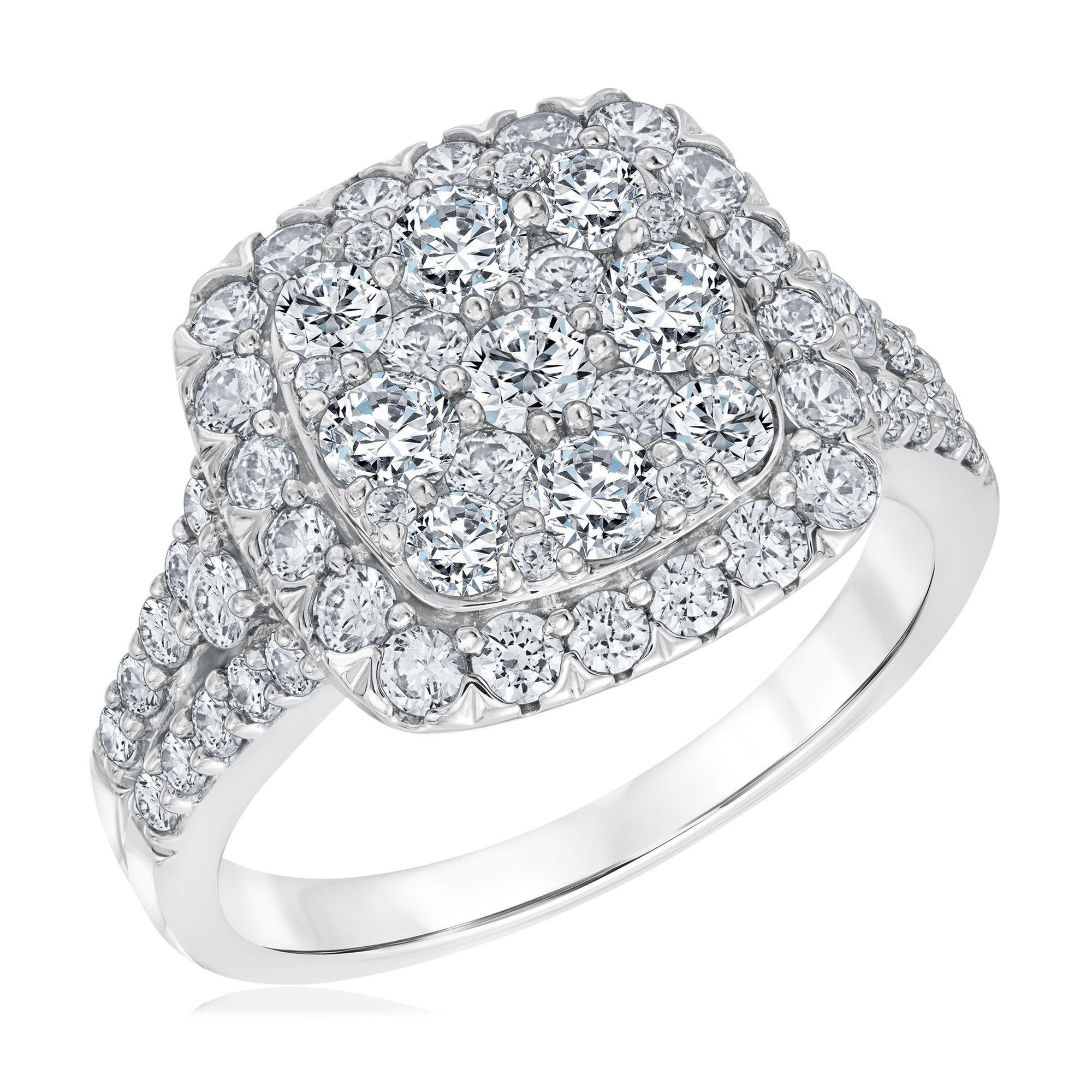 Round Diamond Cluster Top Engagement Ring 2ctw - Size 6.5