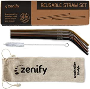 Zenify Reusable Straws Bent Angled with 4X Metal Straw + Bag + Cleaner - Eco Friendly Stainless Steel Kids Drinking Gift Set - Alternative to Single Use Plastic Paper Glass Silicone Bamboo