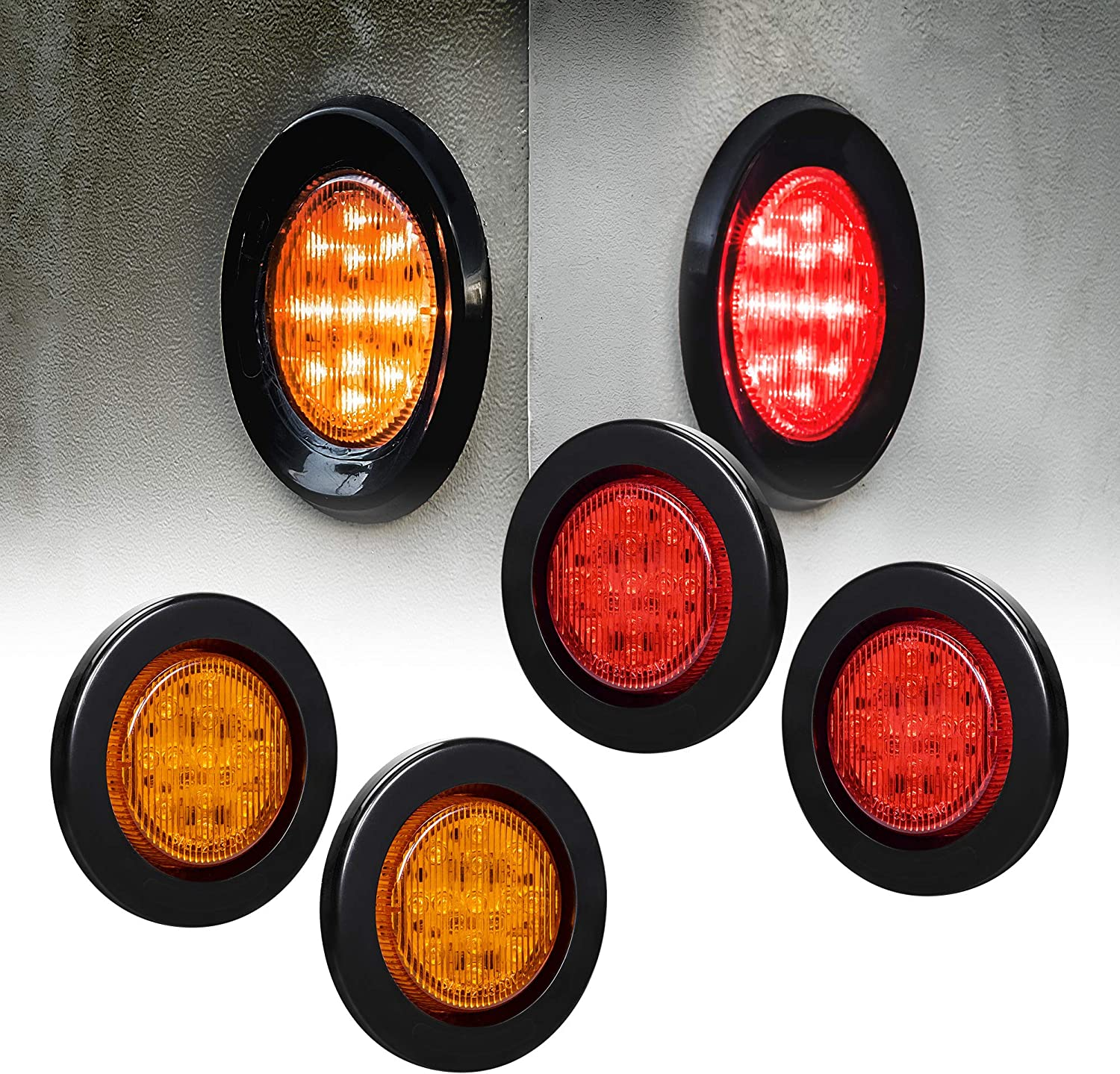 Grommet Red 2.5 Round 13 LED Truck Trailer Side Marker Clearance Light Kit