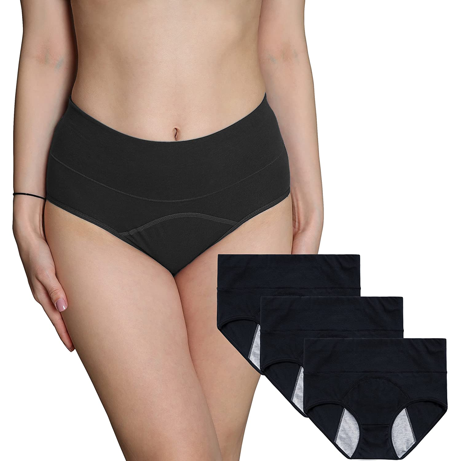 Innersy 3Pack Women Underwear Postpartum Menstrual Period Briefs Leakproof Protective Organic Cotton Knickers(Must Use with Tampons)