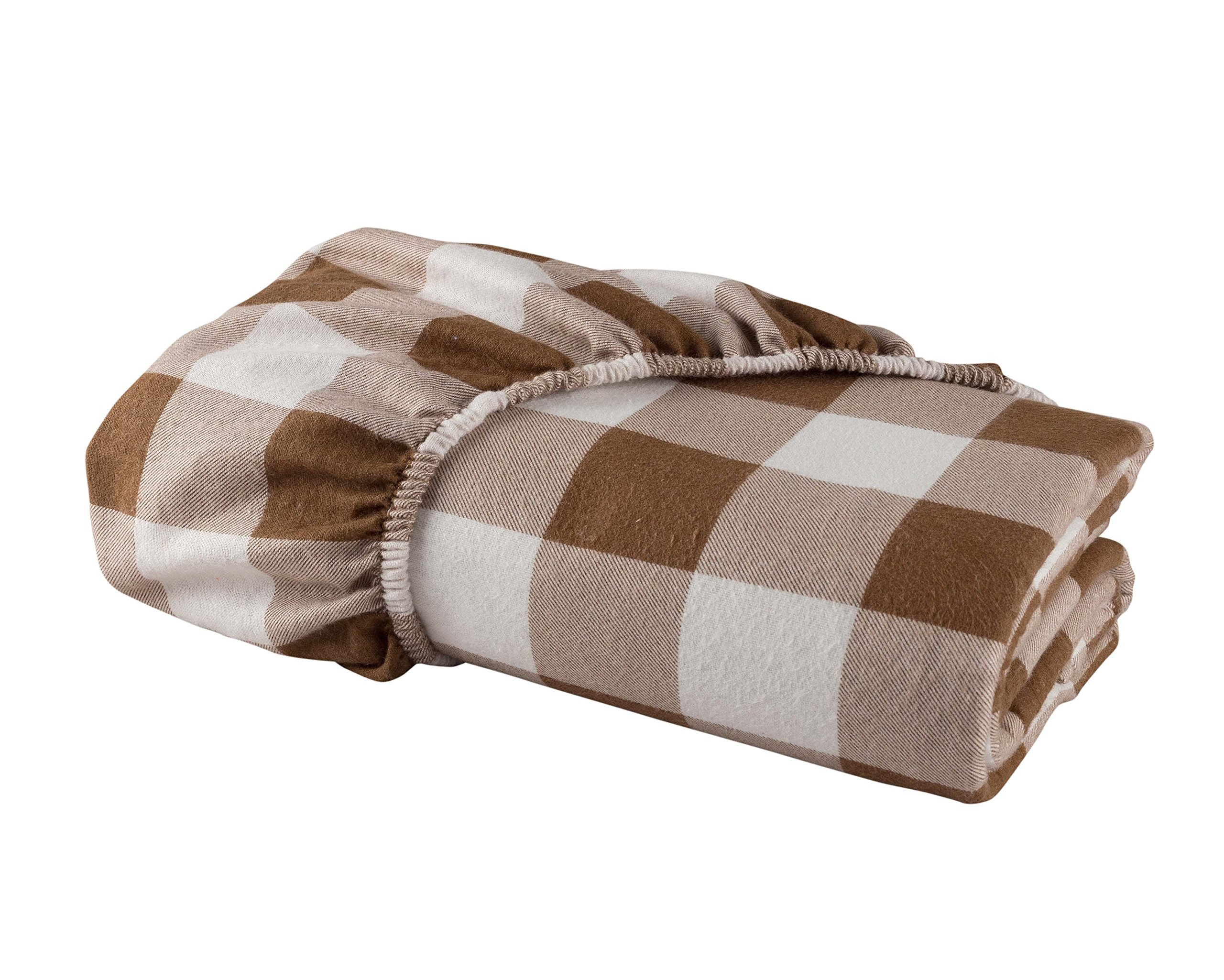 DELANNA Flannel FITTED Sheet by 100% Brushed Cotton All Around Elastic 1 Fitted Sheet (39'' x 79'') (TWIN, BUFFALO CHECK BROWN)