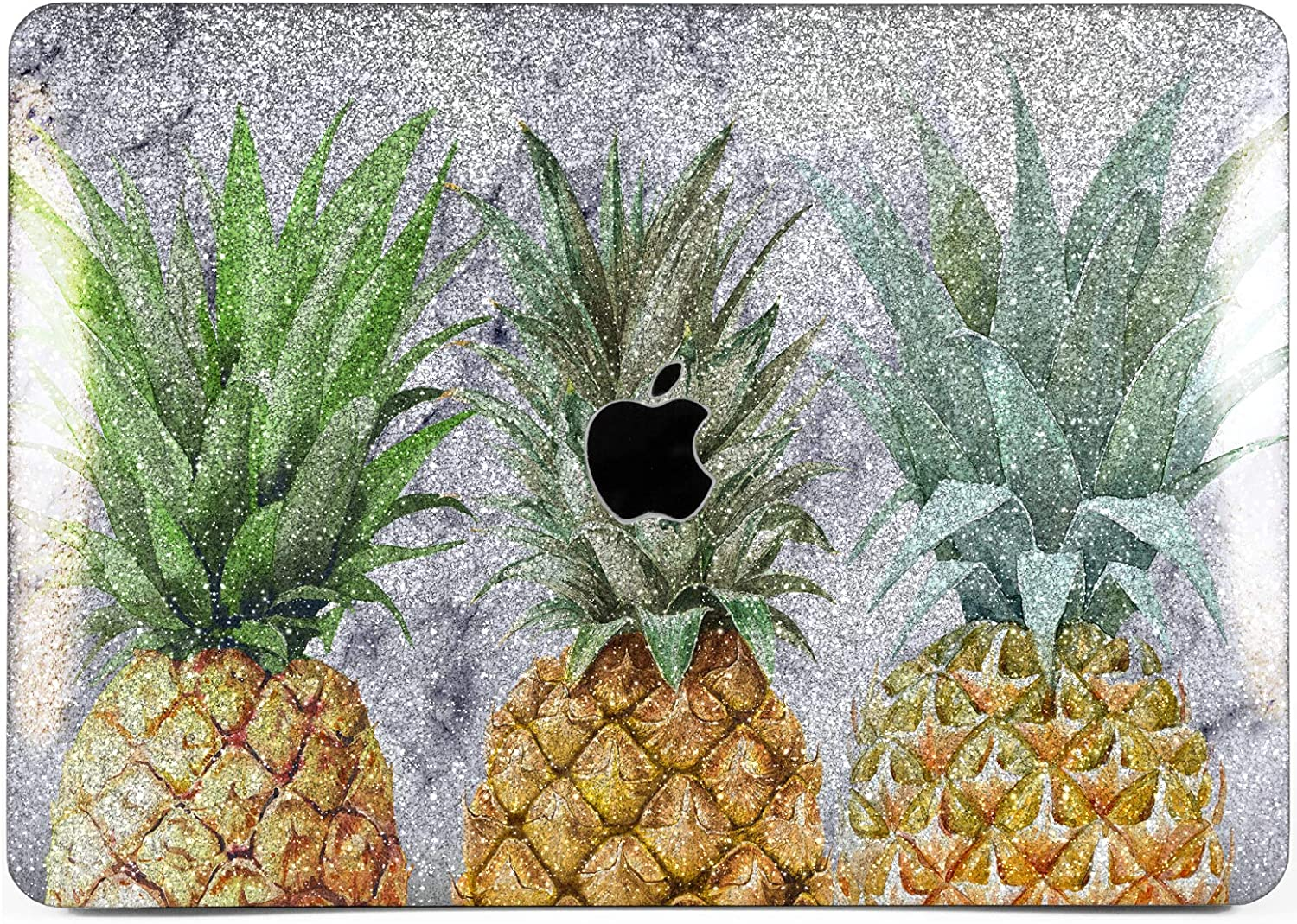 """Cavka Hard Glitter Case for Apple MacBook Pro 13"""" 2019 Retina 15"""" Mac Air 11"""" Mac 12"""" Bling Hawaiian Nice Print Gray Marble Tropical Pineapple Rose Gold Sparkly Shiny Cover Glossy Design Fruit Silver"""