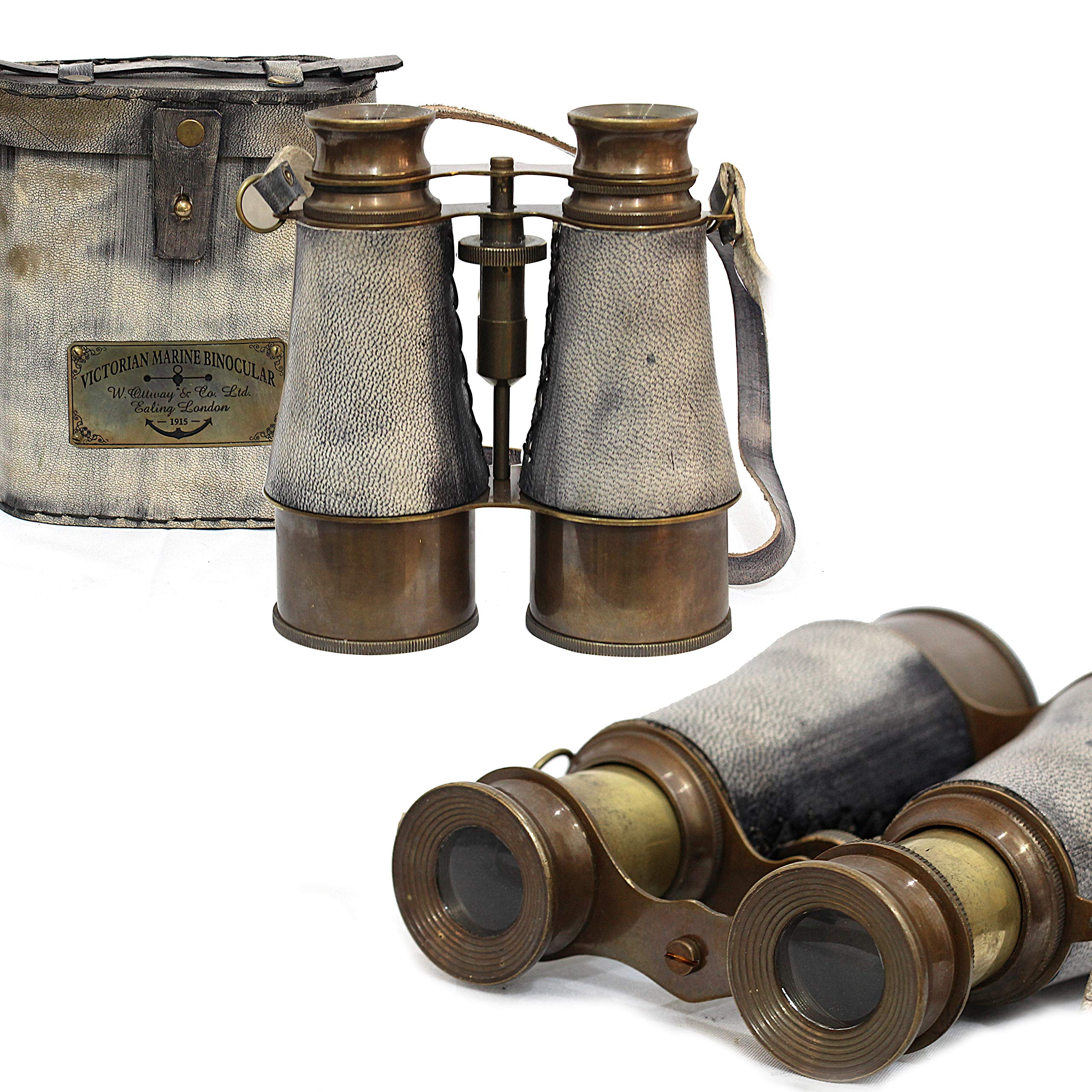 Victorian Marine Brass Leather Binocular Sailor Instrument London 1915 (Gray)