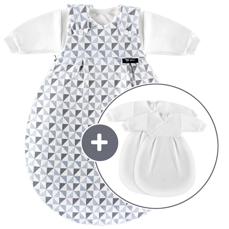 Alvi Baby Mäxchen Original Ganzjahres Baby-Schlafsack - 3-tlg. mit gefüttertem Außensack und 2 Innensäcken mit Ärmeln mitwachsend   Birnenform - Triangel Silber Grau (56 62)