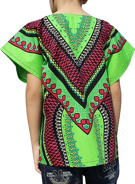 RaanPahMuang Childs African Arrowhead Heart Dashiki Shirt Short Sleeve