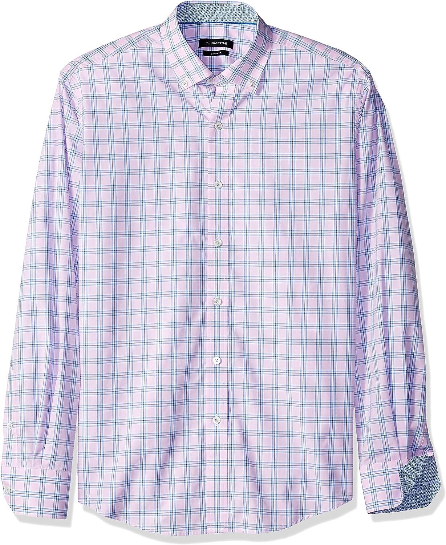 Bugatchi Mens Casual Long Sleeve Cotton Hidden Button Collar Sport Shirt