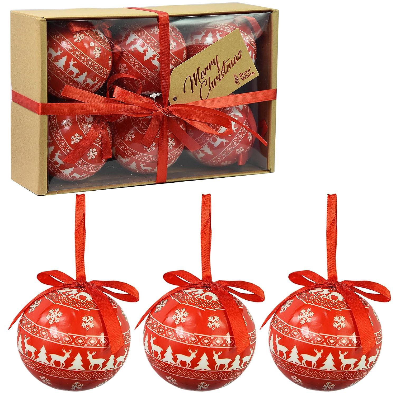 Set di 6 baubles di Natale di lusso Decorazione di albero tradizionale Natale Balls Festive Tema (Red Baubles Nordic) PMS