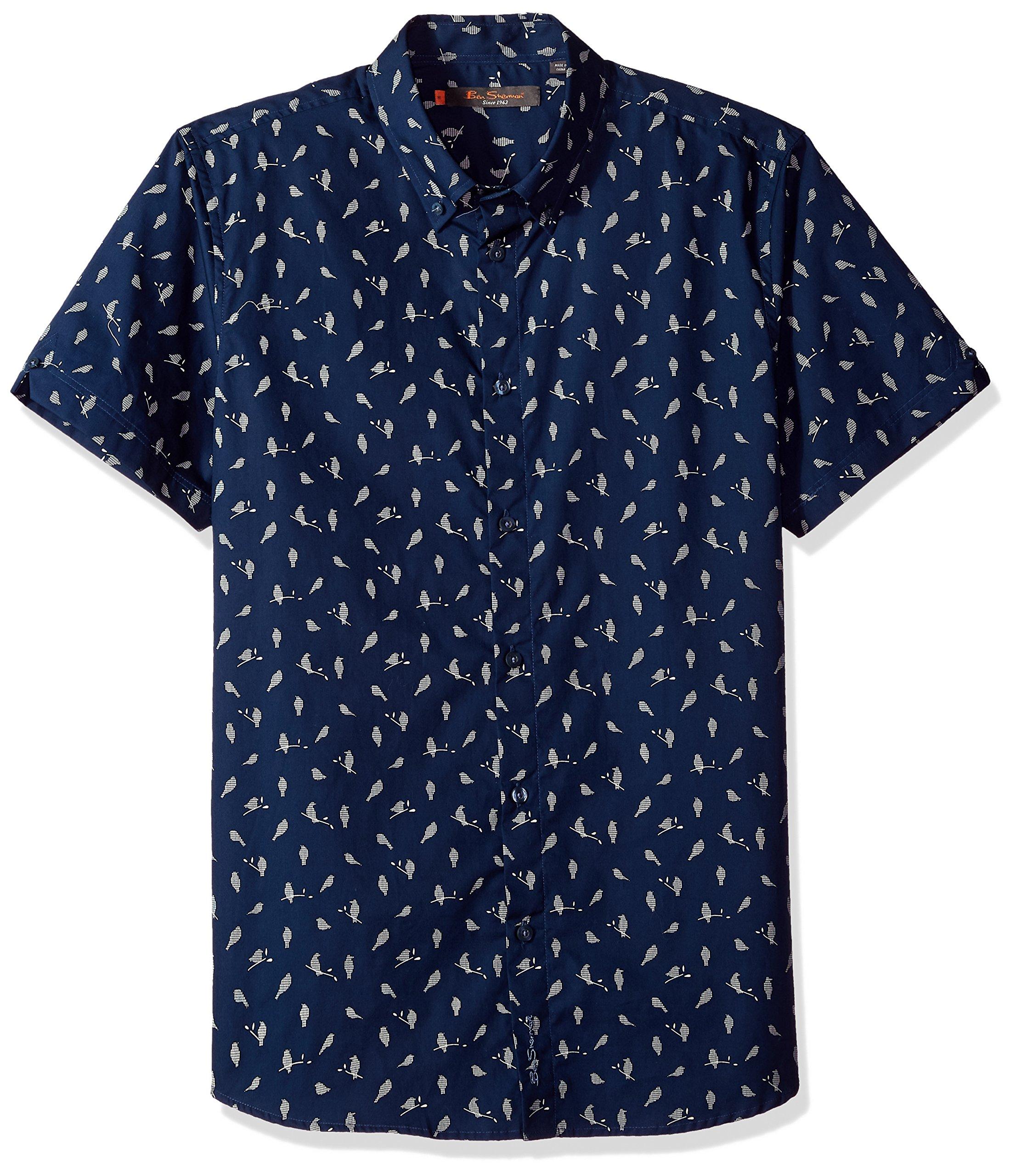 Ben Sherman Men's Short Sleeve Bird Print Shirt, Blue, M