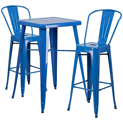 outdoor metal table set 31.5 flash furniture 2375 square blue metal indooroutdoor bar table set with amazoncom