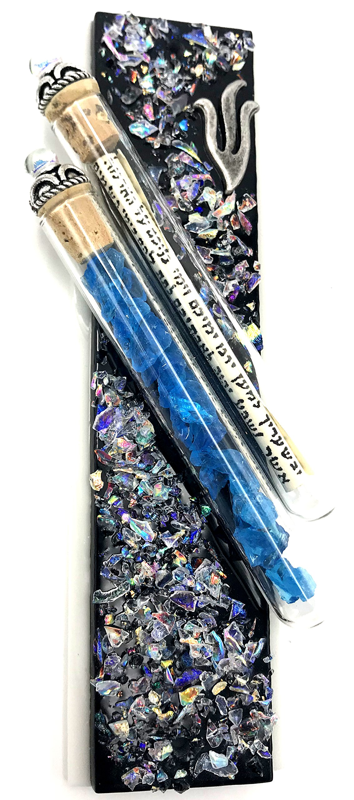 Tamara Baskin Art Glass Wedding Keepsakes Mezuzah, Gift Box and Non-Kosher Scroll Included Hand Made in the USA (Black)