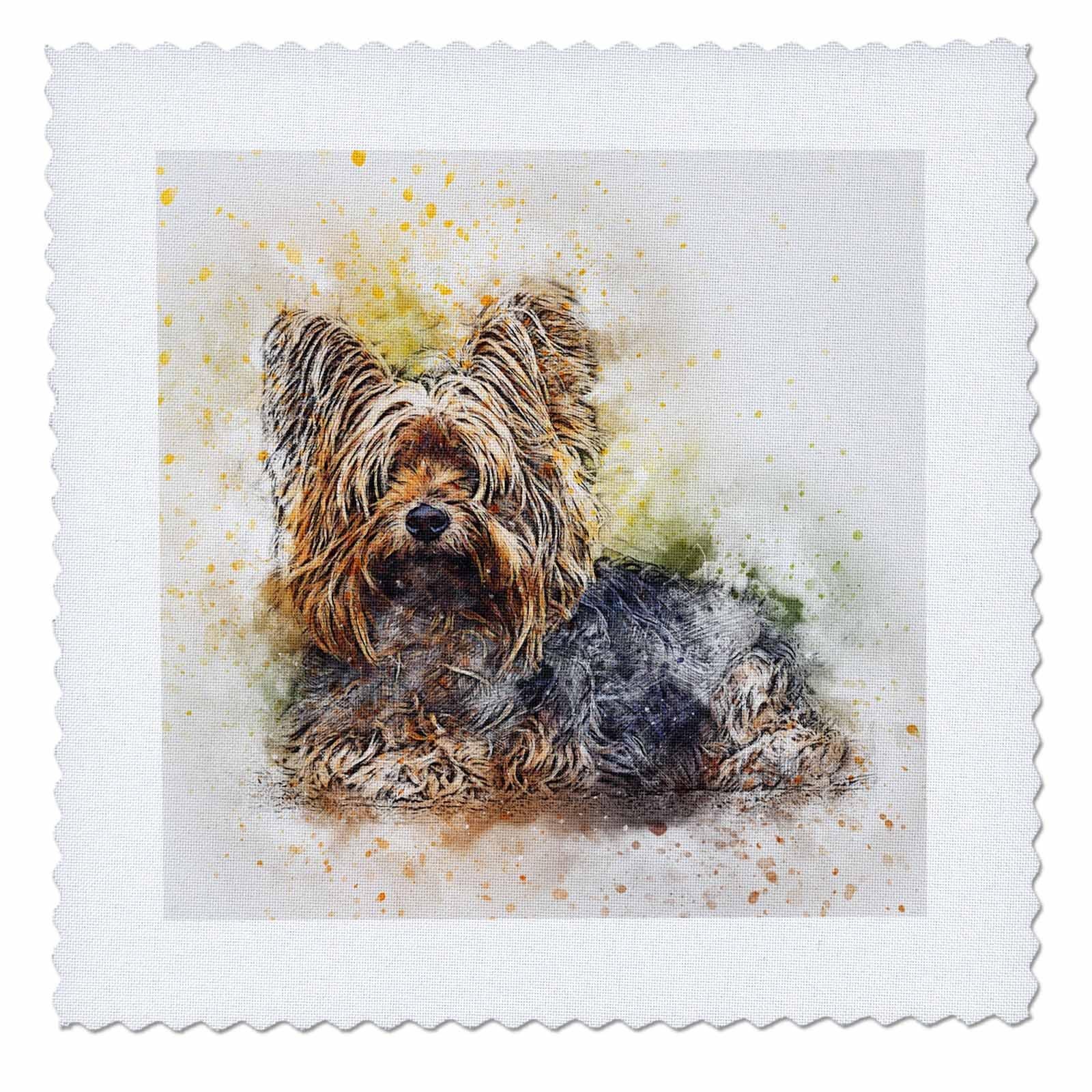 3dRose Sven Herkenrath Animal - Watercolor Dog Portrait - 22x22 inch quilt square (qs_280291_9)