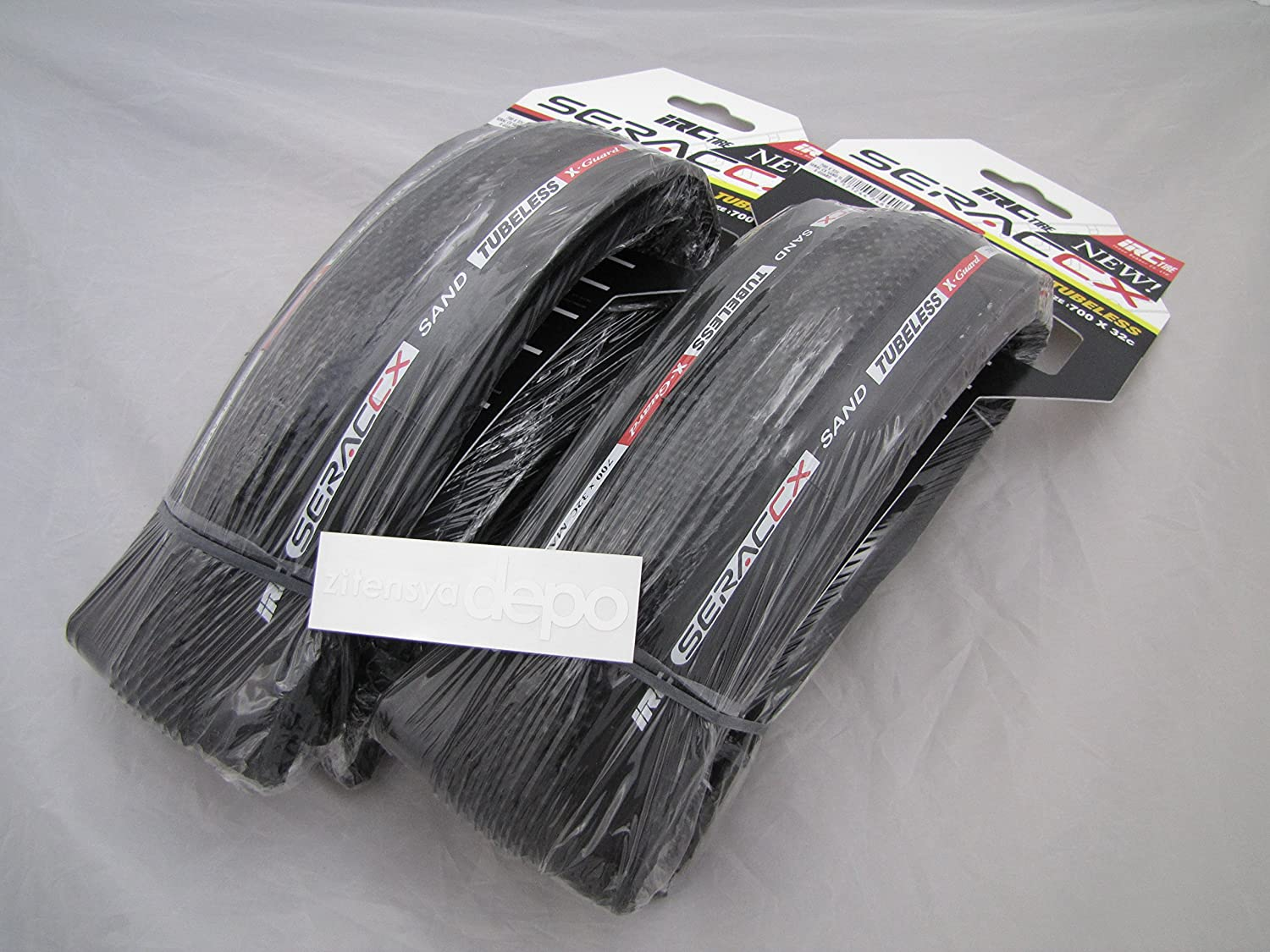 IRCアイアールシー SERAC CX TUBELESS SAND X-GUARD 700×32C タイヤ×2 +zitensyadepoステッカー B01N527DP3