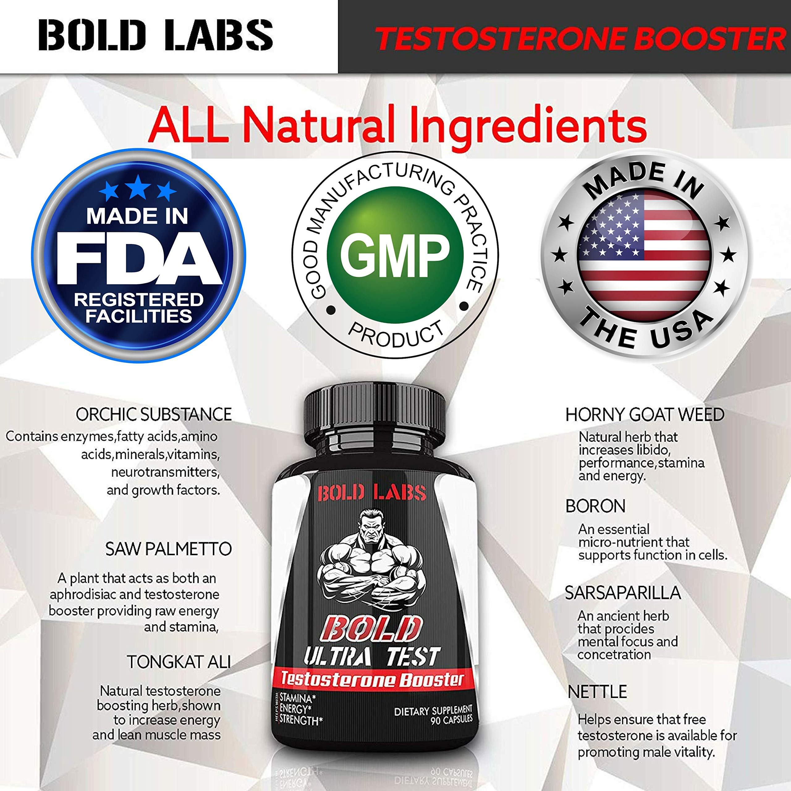 Testosterone Booster Extra Strength (90 Capsules) 1305 MG Testosterone Booster for Men Blend