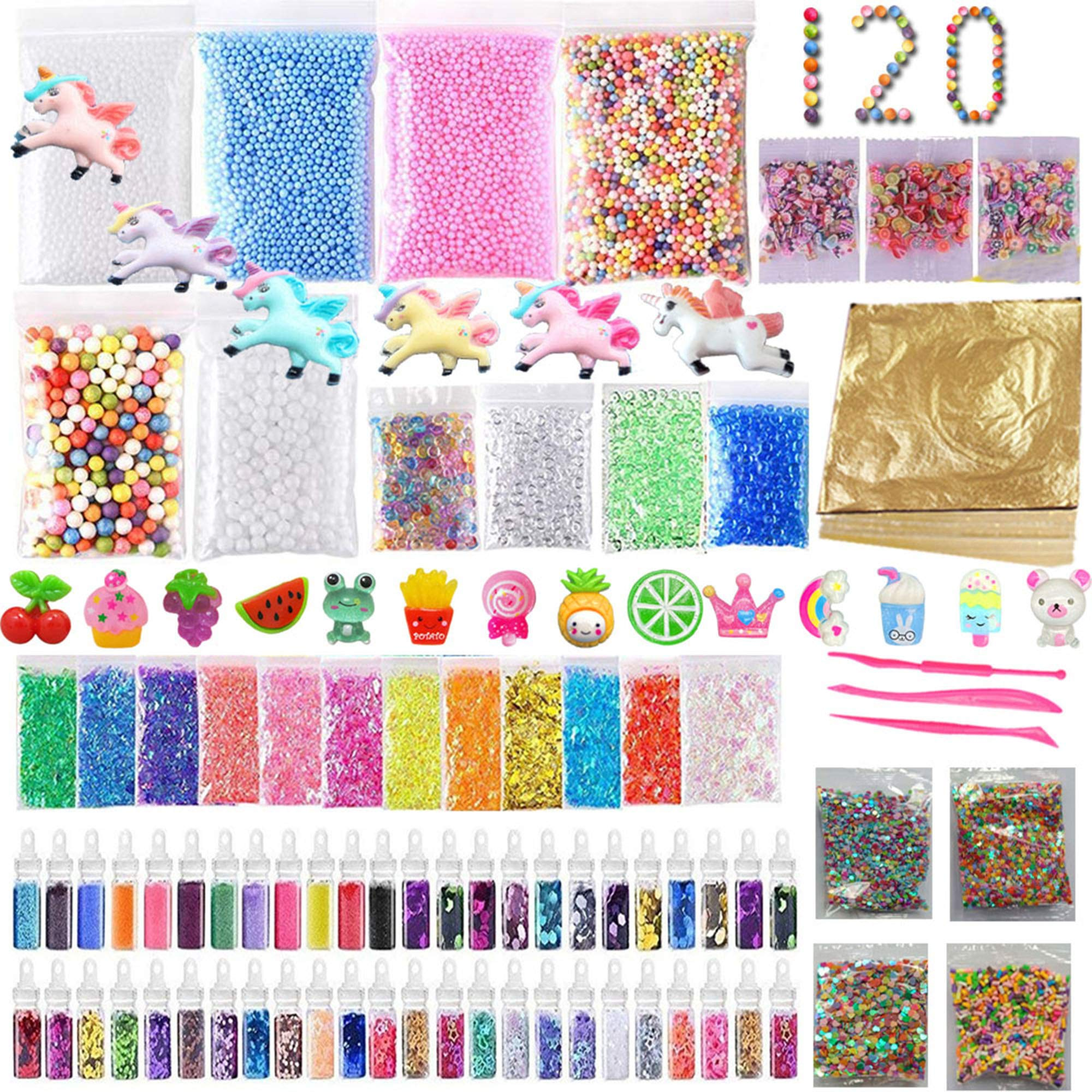 120 Pack Slime Making Kits Supplies,Gold Leaf,Foam Balls,Glitter Shake Jars,Fishbowl Beads,Fruit Slices,Fake Sprinkles,Glitter Sequins Accessories, Sugar Papers (Slime Kits)