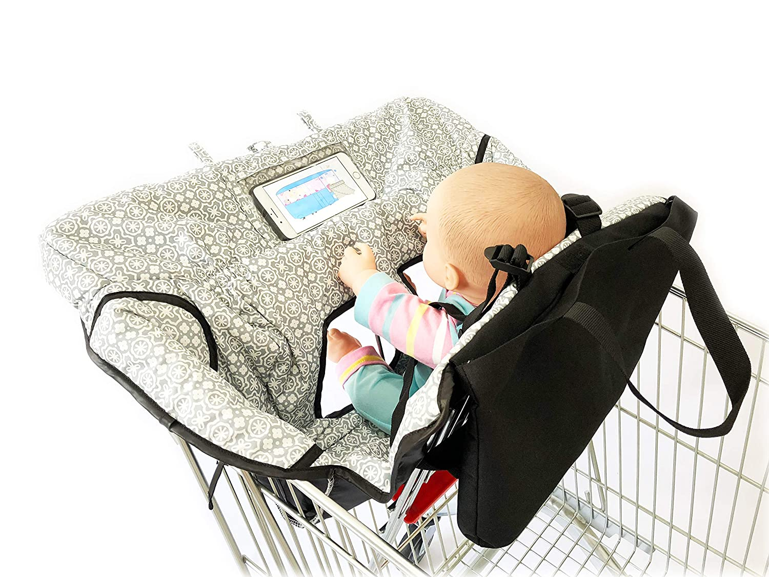Waterproof 2-in-1 Baby Shopping Cart Cover & High Chair Covers with Safety Harness for Babies & Toddler (Unisex Gray)