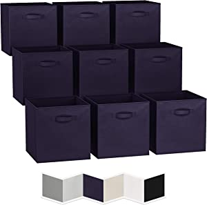 13x13 Large Storage Cubes (Set of 9). Fabric Storage Bins with Dual Handles   Cube Storage Bins for Home and Office   Foldable Cube Baskets For Shelf   Closet Organizers and Storage Box (Navy)