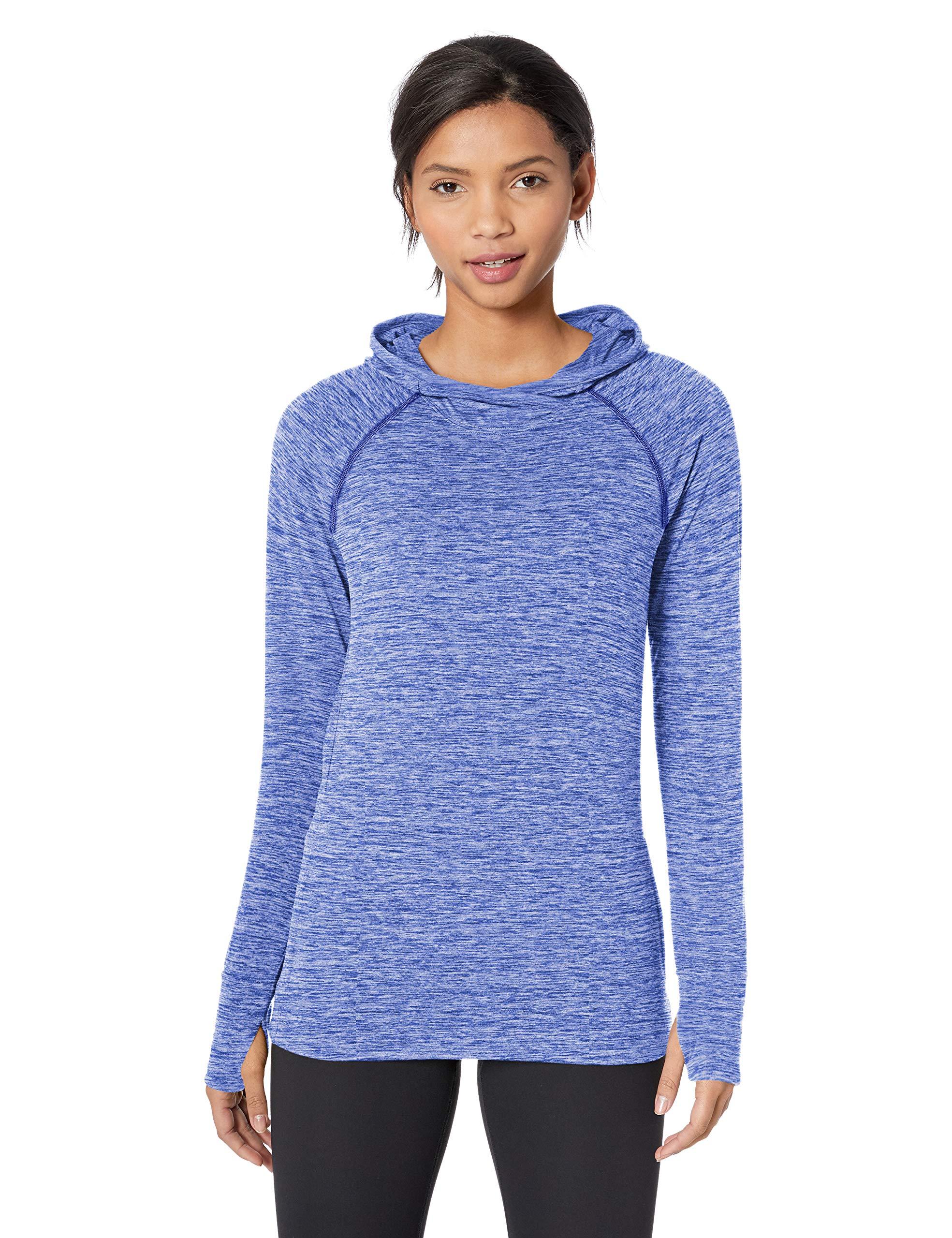 Amazon Essentials Women's Brushed Tech Stretch Popover Hoodie, Blue Space dye, Medium