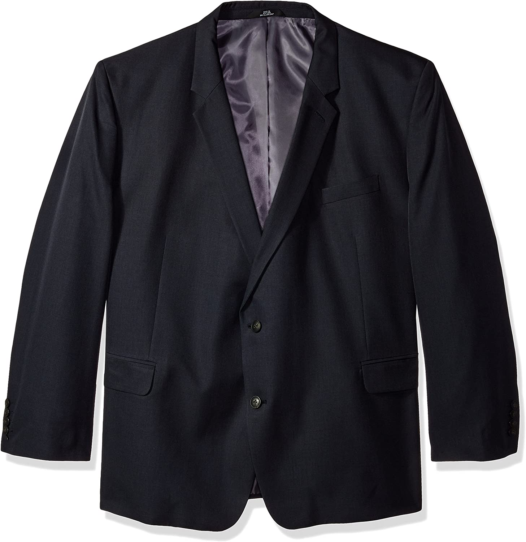 J.M. Haggar Men's Big & Tall Sharkskin Premium Classic- Fit Stretch Suit Separate Coat, Dark Navy, 52R