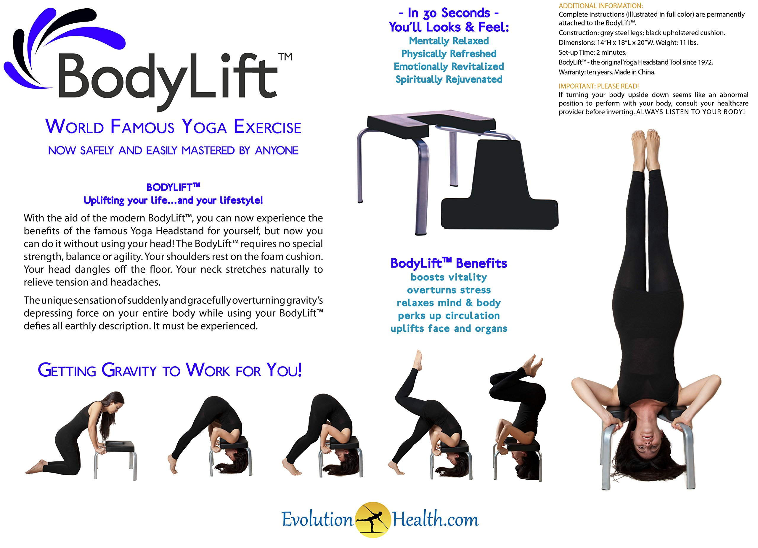 Original Bodylift headstand bench/ yoga chair by Evolution Health