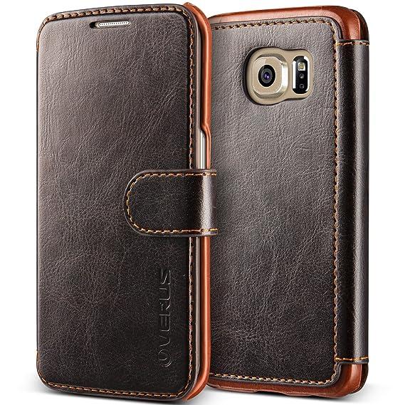 pretty nice 9127b f9150 Galaxy S6 Edge Case, Verus [Layered Dandy][Coffee Brown] - [Premium Leather  Wallet][Slim Fit] For Samsung Galaxy S6 Edge