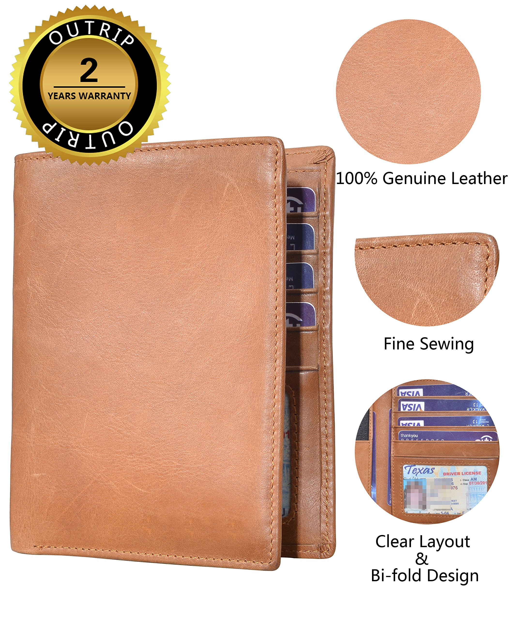 Outrip Genuine Leather Passport Wallet RFID Blocking Travel Card/Passport Holder (Brown) by Outrip (Image #6)